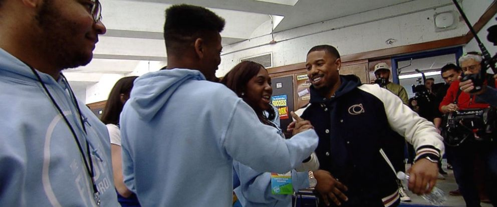 Michael B Jordan surprises high school students in his hometown