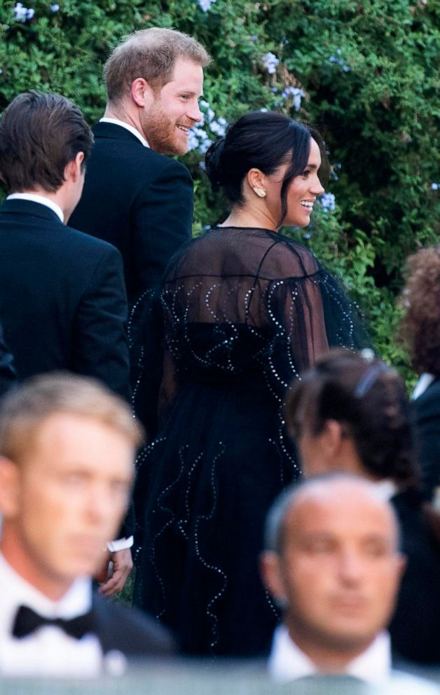 PHOTO: Britains Prince Harry and his wife Meghan, Duchess of Sussex arrive to the wedding of Misha Nonoo and Michael Hess in Rome, Sept. 20, 2019.