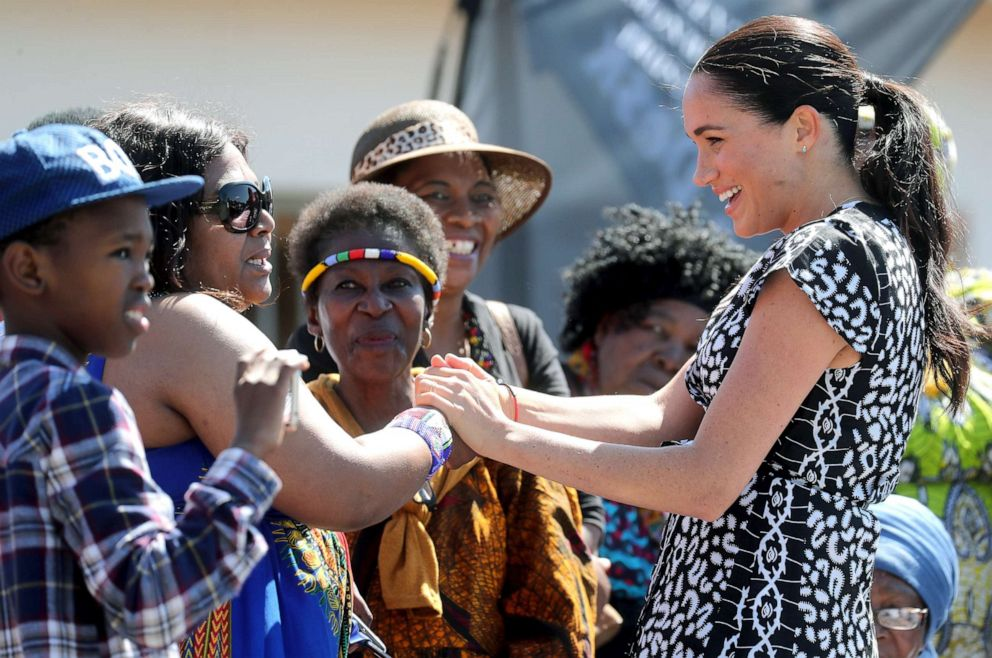 PHOTO: Meghan, Duchess of Sussex meets well-wishers as she visits a Justice Desk initiative in Nyanga township, with Prince Harry, Duke of Sussex, during their royal tour of South Africa, Sept. 23, 2019 in Cape Town, South Africa.