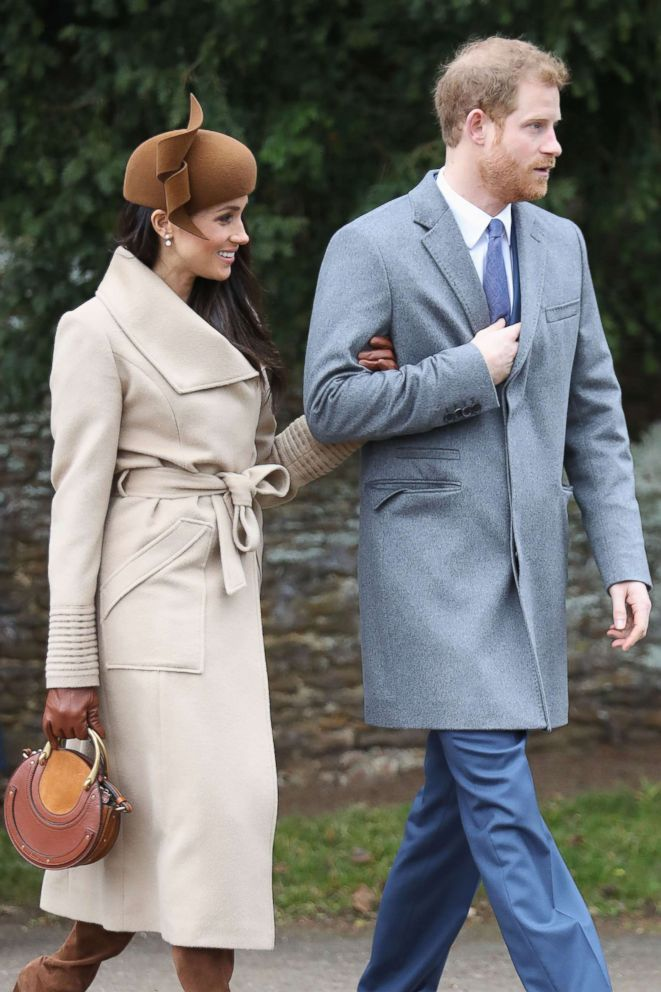 PHOTO: Meghan Markle and Prince Harry attend Christmas Day Church service at Church of St Mary Magdalene on Dec. 25, 2017 in Kings Lynn, England.