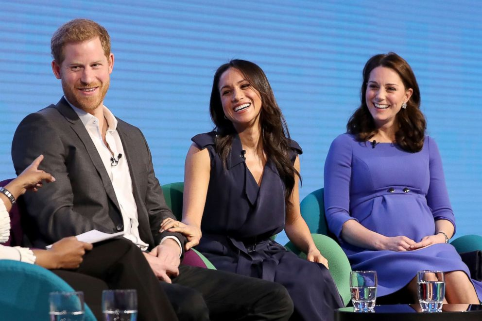 PHOTO: Prince Harry, Meghan Markle and Catherine, Duchess of Cambridge attend the first annual Royal Foundation Forum held at Aviva on Feb. 28, 2018 in London.