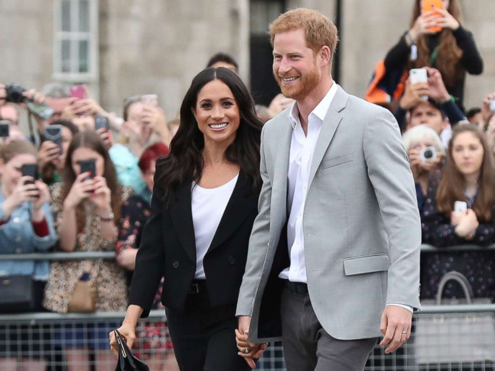 PHOTO: Meghan Markle, Duchess of Sussex and Prince Harry, Duke of Sussex visit Trinity College on the second day of their official two day royal visit to Ireland on July 11, 2018 in Dublin.