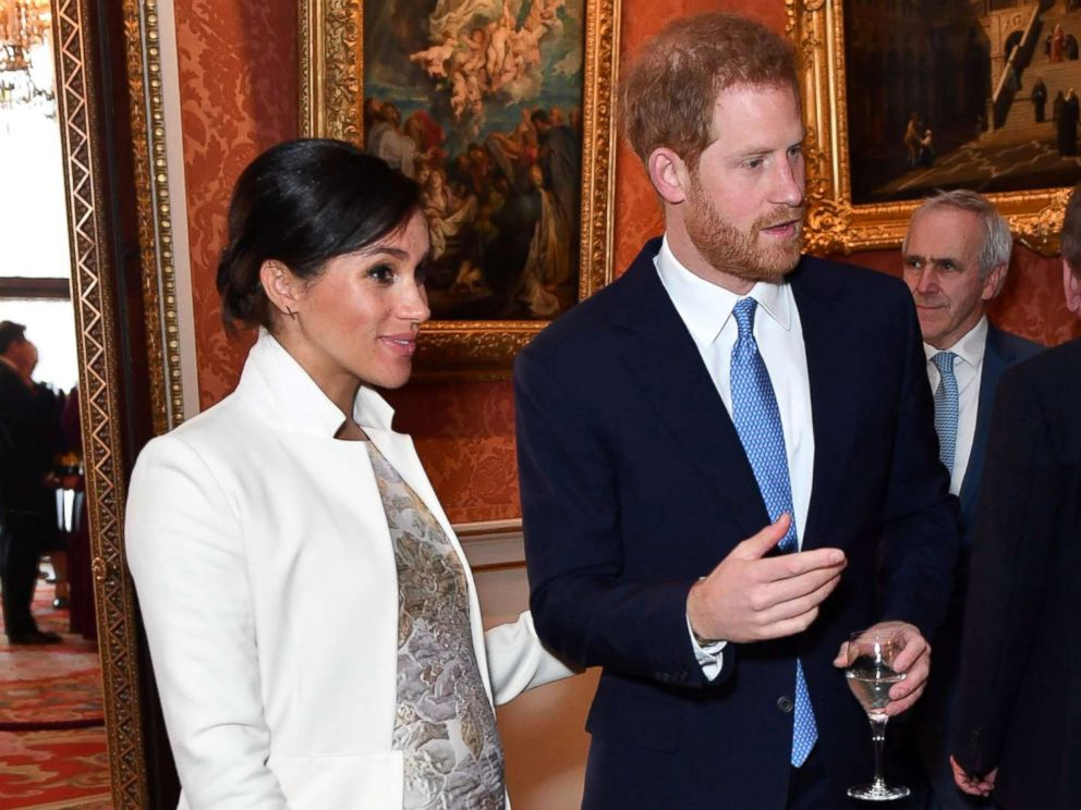 PHOTO: Britains Meghan, Duchess of Sussex and Prince Harry the Duke of Sussex are seen at a reception to mark the fiftieth anniversary of the investiture of the Prince of Wales at Buckingham Palace in London, March 5, 2019.