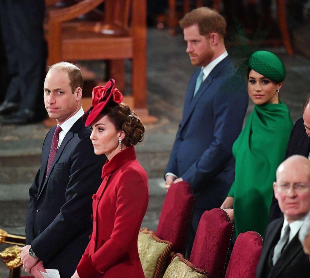 ФОТО: Принц Уильям, герцог Кембриджский, Кэтрин, герцогиня Кембриджская, принц Гарри, герцог Сассексский и Меган, герцогиня Сассексская, присутствуют на праздновании Дня Содружества 2020 года 9 марта 2020 года в Лондоне.