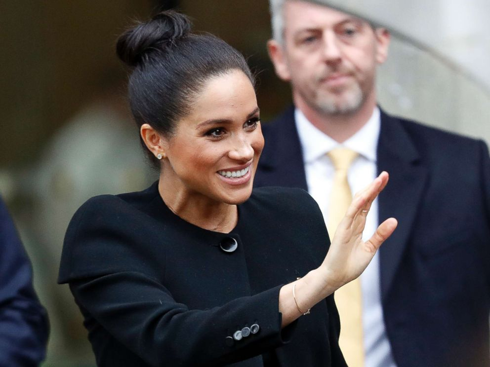 PHOTO: Meghan, Duchess of Cambridge waves after attending an engagement with the Association of Commonwealth Universities at City, University of London on Jan. 31, 2019 in London.