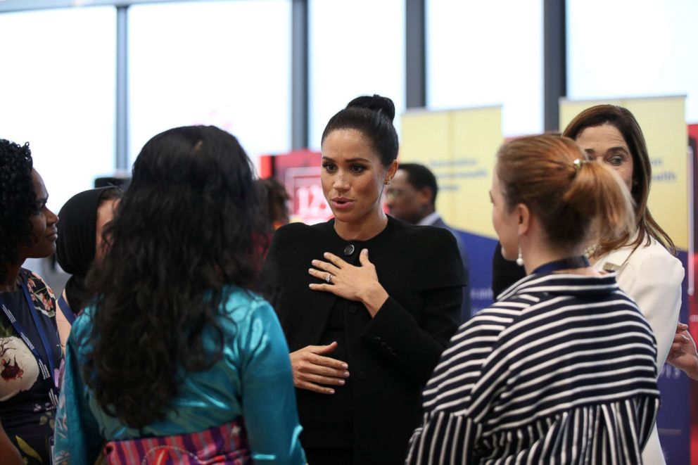 PHOTO: The Duchess of Sussex speaks to students during a visit to the Association of Commonwealth Universities at the City, University of London, Jan. 31, 2019.