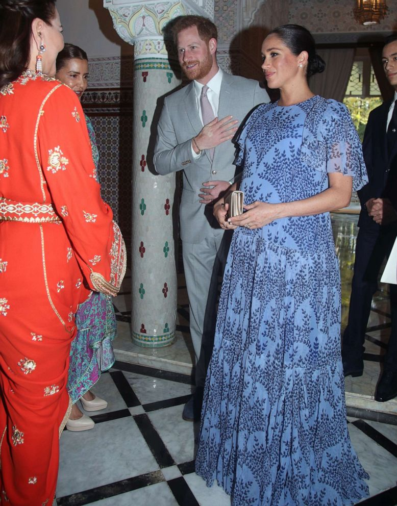 PHOTO: Meghan, Duchess of Sussex, and her husband, Prince Harry, greet Princess Lalla Meryem and Princess Lalla Hasna of Morocco during an audience with the King Mohammed VI of Morocco at his residence on Feb. 25, 2019 in Rabat, Morocco.