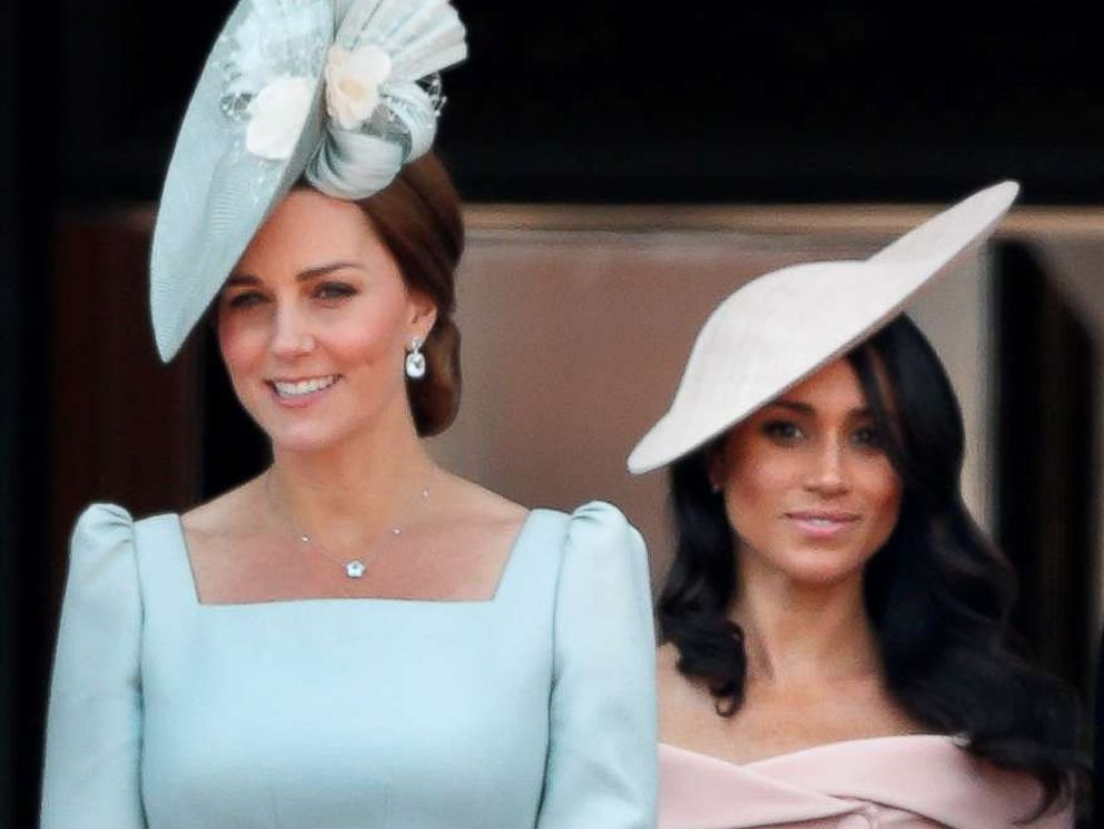 PHOTO: Catherine, Duchess of Cambridge and Meghan, Duchess of Sussex stand on the balcony of Buckingham Palace during Trooping The Colour 2018 on June 9, 2018 in London.