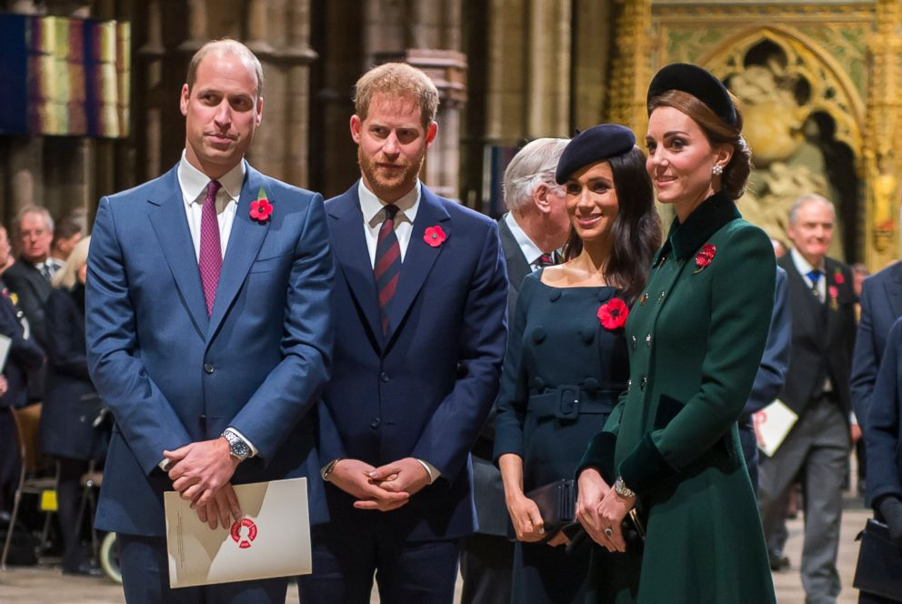 PHOTO: Prince William, Duke of Cambridge and Catherine, Duchess of Cambridge, Prince Harry, Duke of Sussex and Meghan, Duchess of Sussex attend a service marking the centenary of WW1 armistice at Westminster Abbey on Nov. 11, 2018 in London.
