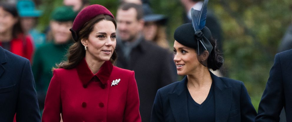 PHOTO: Catherine, Duchess of Cambridge and Meghan, Duchess of Sussex attend Christmas Day Church service at Church of St Mary Magdalene on the Sandringham estate on Dec. 25, 2018 in Kings Lynn, England.