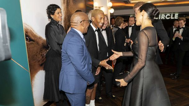 Duchess Meghan speaks about life in public eye with Pharrell Williams at 'Lion King' premiere
