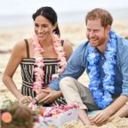 Prince Harry, The Duke of Sussex and his wife Meghan Markle, The Duchess of Sussex,   during a visit to Bondi Beach in Sydney, Australia, Oct. 19, 2018.
