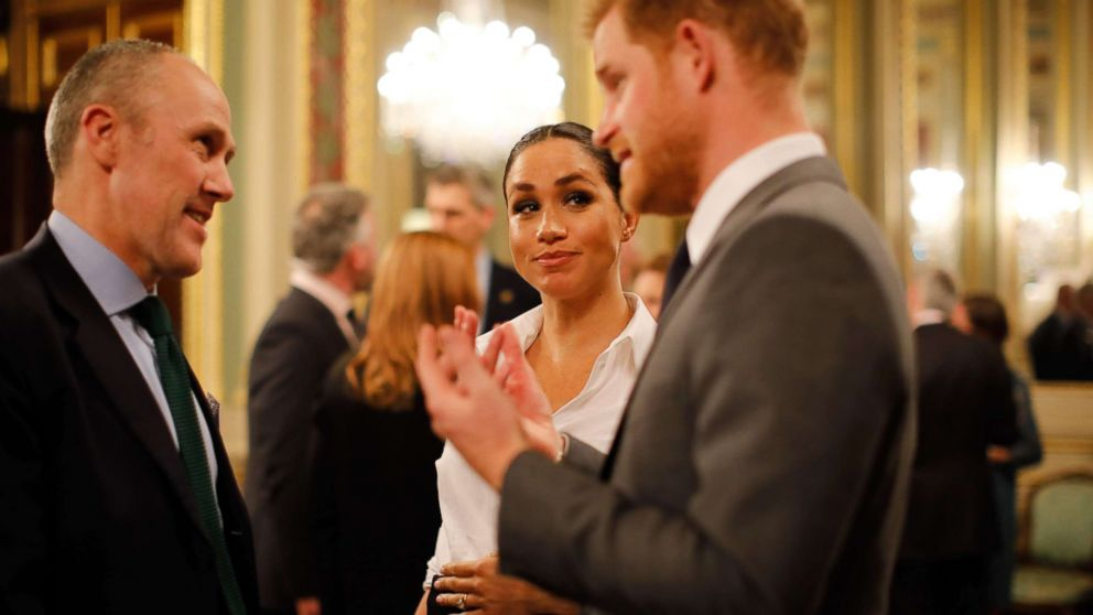 Britain's Prince Harry, Duke of Sussex and Meghan, Duchess of Sussex meet guests at a reception as they attend the annual Endeavour Fund Awards at Drapers Hall in London on Feb. 7, 2019.