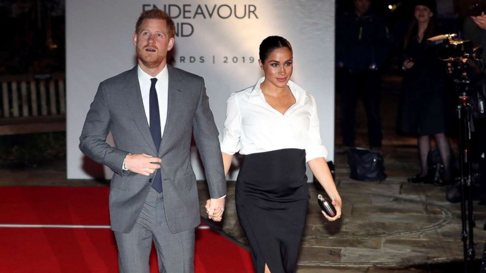 Britain's Prince Harry and Meghan, Duchess of Sussex, arrive at the Endeavour Fund Awards in the Drapers' Hall in London, Feb. 7, 2019.