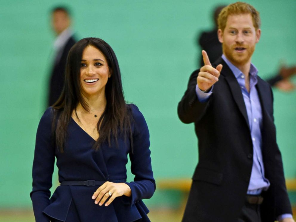 PHOTO: Meghan Markle, Duchess of Sussex and Britains Prince Harry take part in a sports demonstration with Coach Core apprentices at Loughborough University in Loughborough, Britain, Sept. 24, 2018.