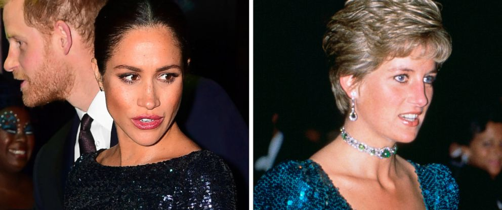 PHOTO: Meghan, Duchess of Sussex wears a Roland Mouret dress in London, Jan. 16, 2019 and Diana, Princess of Wales, wears a Catherine Walker dress in London in 1990.