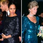 Meghan, Duchess of Sussex wears a Roland Mouret dress in London, Jan. 16, 2019 and Diana, Princess of Wales, wears a Catherine Walker dress in London in 1990.