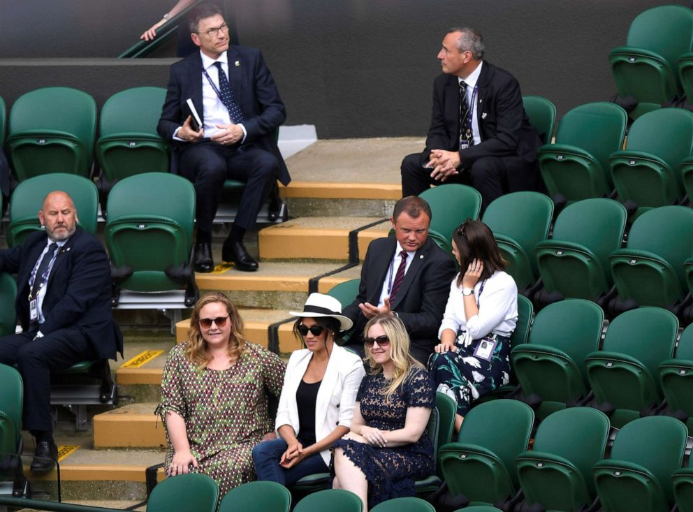 PHOTO: Meghan, Duchess of Sussex, watches the match between Serena Williams of the U.S. and Slovenias Kaja Juvan at Wimbledon Championships at the All England Lawn Tennis and Croquet Club, London, July 4, 2019.