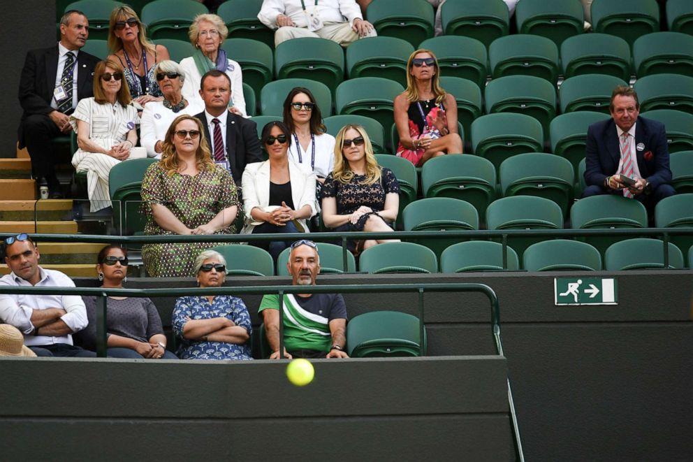 PHOTO: Meghan, Duchess of Sussex, watches the action on Court 1 during the Wimbledon Tennis Championships, Day 4, at The All England Lawn Tennis and Croquet Club in London, July 04, 2019.