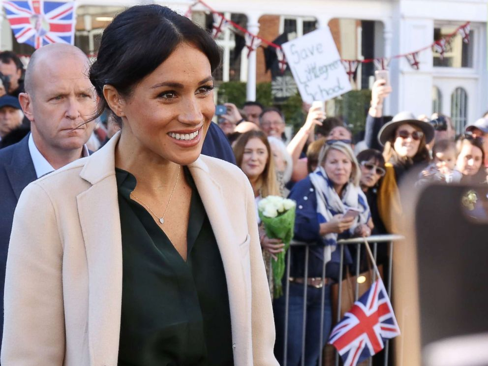PHOTO: Prince Harry, Duke of Sussex and Meghan Markle, Duchess of Sussex seen greeting crowds in Chichester during an official visit to Sussex, Oct. 3, 2018, in Chichester, U.K.