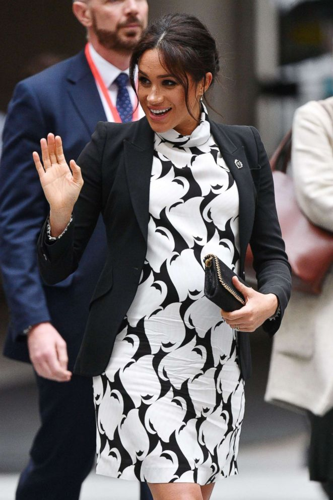 PHOTO: Britains Meghan, the Duchess of Sussex, arrives at Kings College to join a panel discussion convened by The Queens Commonwealth Trust to mark International Womens Day in London, March 8, 2019.
