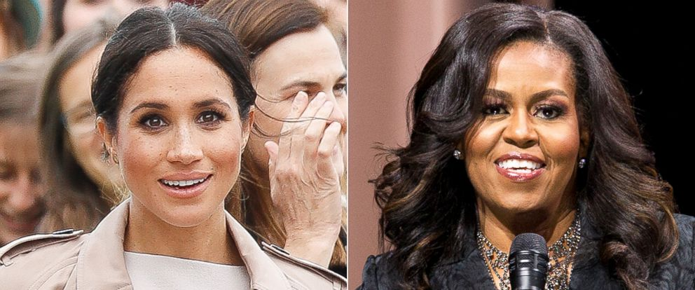 """PHOTO: Meghan, Duchess of Sussex, Oct. 30, 2018 in Auckland, New Zealand. Michelle Obama speaks to the audience during a stop on her book tour for """"Becoming,"""" in Washington D.C., Nov. 25, 2018."""