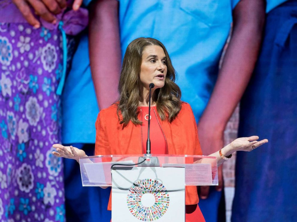 PHOTO: Melinda Gates, co-chair of the Bill and Melinda Gates Foundation, speaks at the International Monetary Fund (IMF) and World Bank Group Annual Meetings in Nusa Dua, Bali, Indonesia, Oct. 11, 2018.