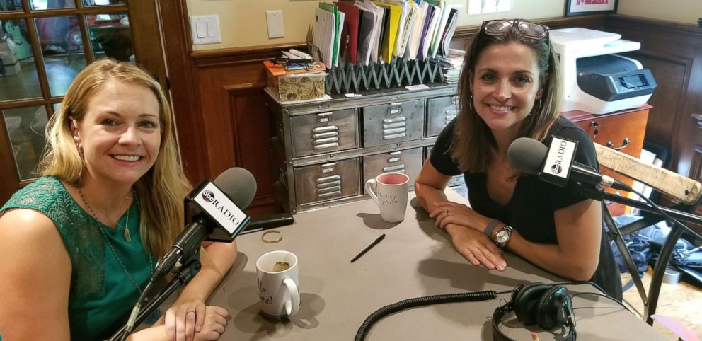 PHOTO: Paula Faris chats with Melissa Joan Hart at the actresss Connecticut home for the Journeys of Faith podcast.