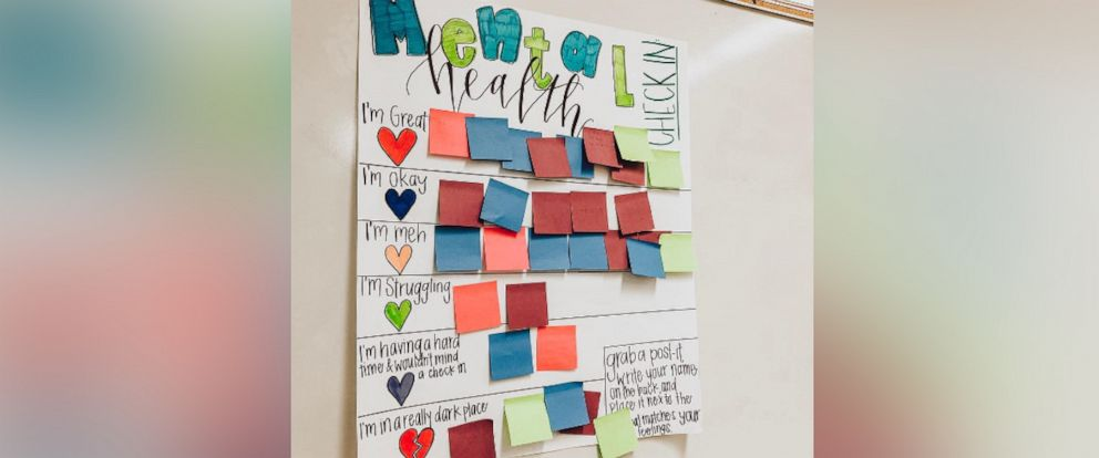 PHOTO: Erin Castillo, an english teacher at John F. Kennedy High School in Freemont, CA, created a mental health check-in chart for her students. Now, teachers all over the world are making their own charts for their classrooms.