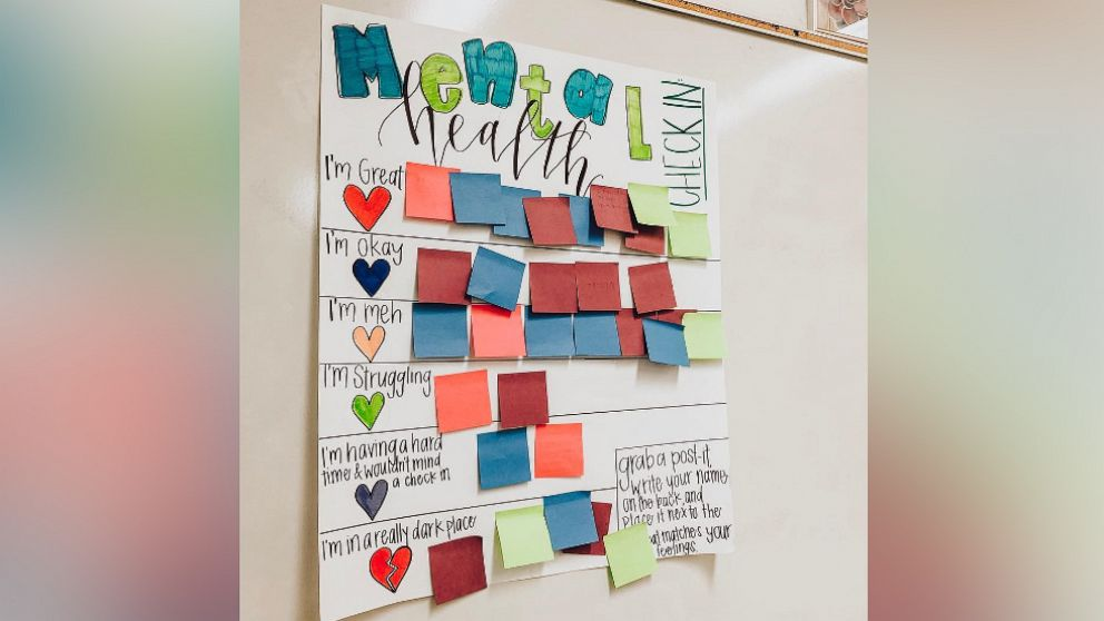 This teacher created a mental health check-in chart for her students and now teachers around the world are doing the same