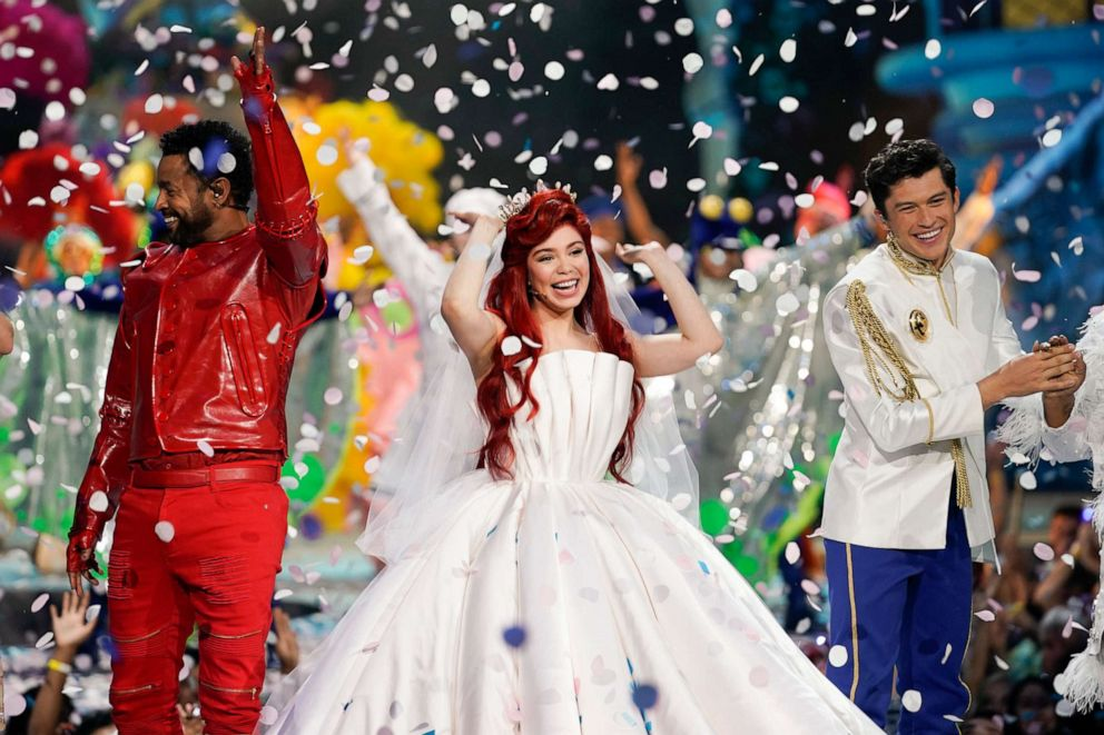 PHOTO: Shaggy, left, as Sebastian, Aulii Cravalho, center, as Ariel, and Graham Phillips, right, as Prince Eric, perform in the spectacular, live musical event showcasing The Little Mermaid on ABC.