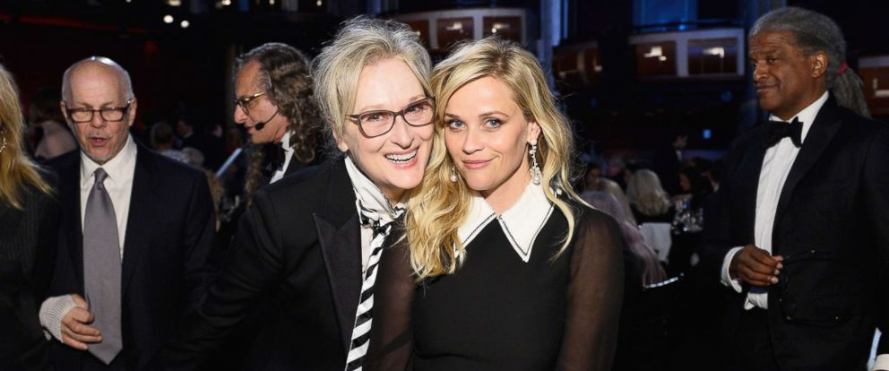 PHOTO: Meryl Streep and Reese Witherspoon pose during American Film Institutes 45th Life Achievement Award Gala Tribute to Diane Keaton, June 8, 2017 in Hollywood.