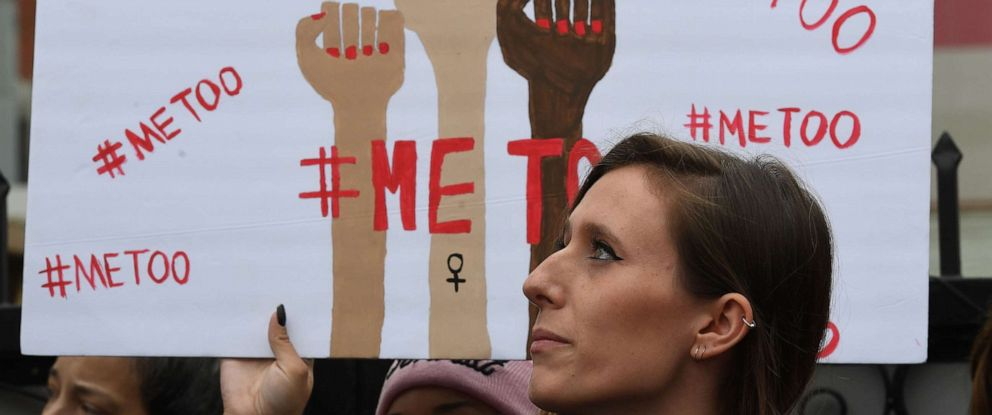 PHOTO: Victims of sexual harassment, sexual assault, sexual abuse and their supporters protest during a #MeToo march in Hollywood, Calif., Nov. 12, 2017.