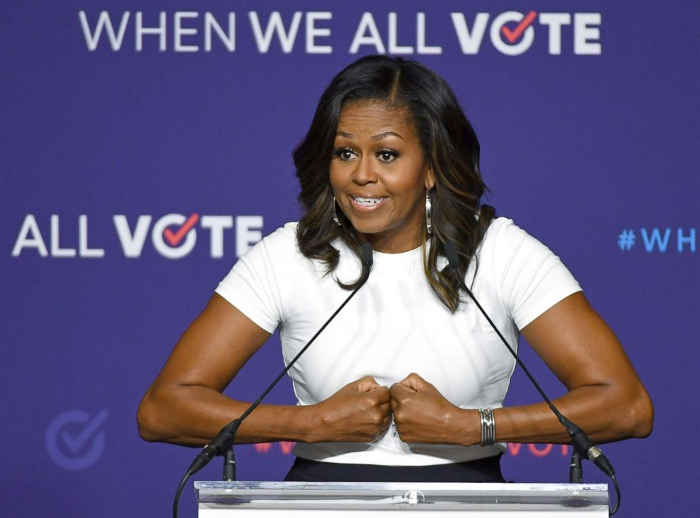 PHOTO: Former first lady Michelle Obama speaks during a rally for When We All Votes National Week of Action at Chaparral High School, in Las Vegas, Sept. 23, 2018, in Las Vegas.