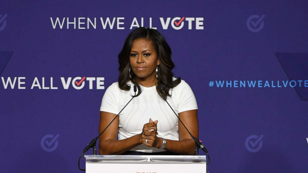 Former first lady Michelle Obama speaks during a rally for When We All Vote's National Week of Action at Chaparral High School, Sept. 23, 2018, in Las Vegas.