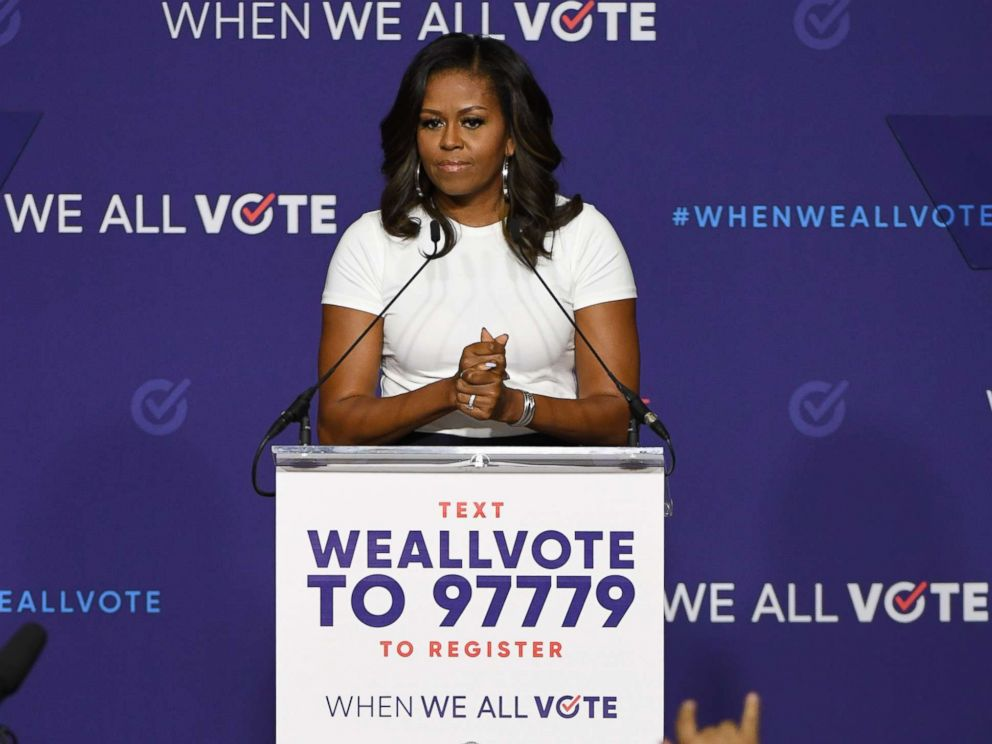 PHOTO: Former first lady Michelle Obama speaks during a rally for When We All Votes National Week of Action at Chaparral High School, Sept. 23, 2018, in Las Vegas.