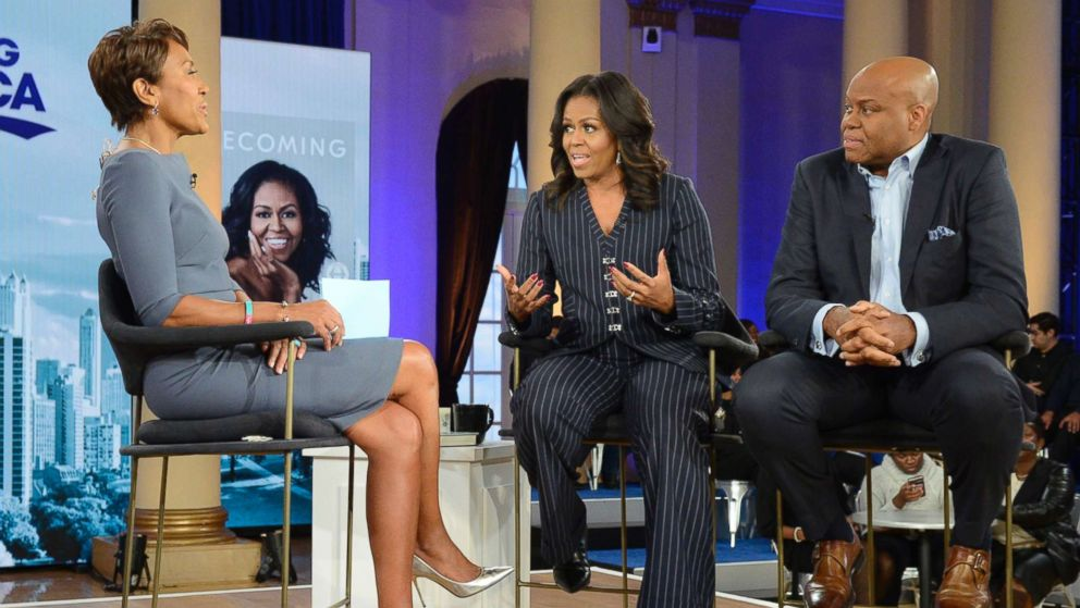 Former first lady Michelle Obama and her brother, Craig Robinson, speak to ABC News' Robin Roberts in Chicago, Nov. 13, 2018.