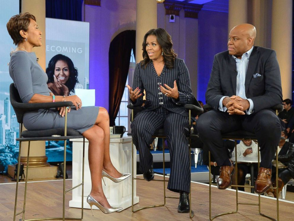 PHOTO: Former first lady Michelle Obama and her brother, Craig Robinson, speak to ABC News Robin Roberts in Chicago, Nov. 13, 2018.