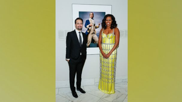 Michelle Obama honors Lin-Manuel Miranda in a stunning yellow corseted dress
