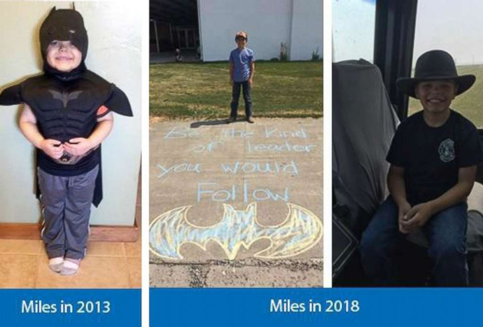 Miles, pictured at 10-years-old on the right, was 5-years-old in 2013 when he received his wish from Make-A-Wish.