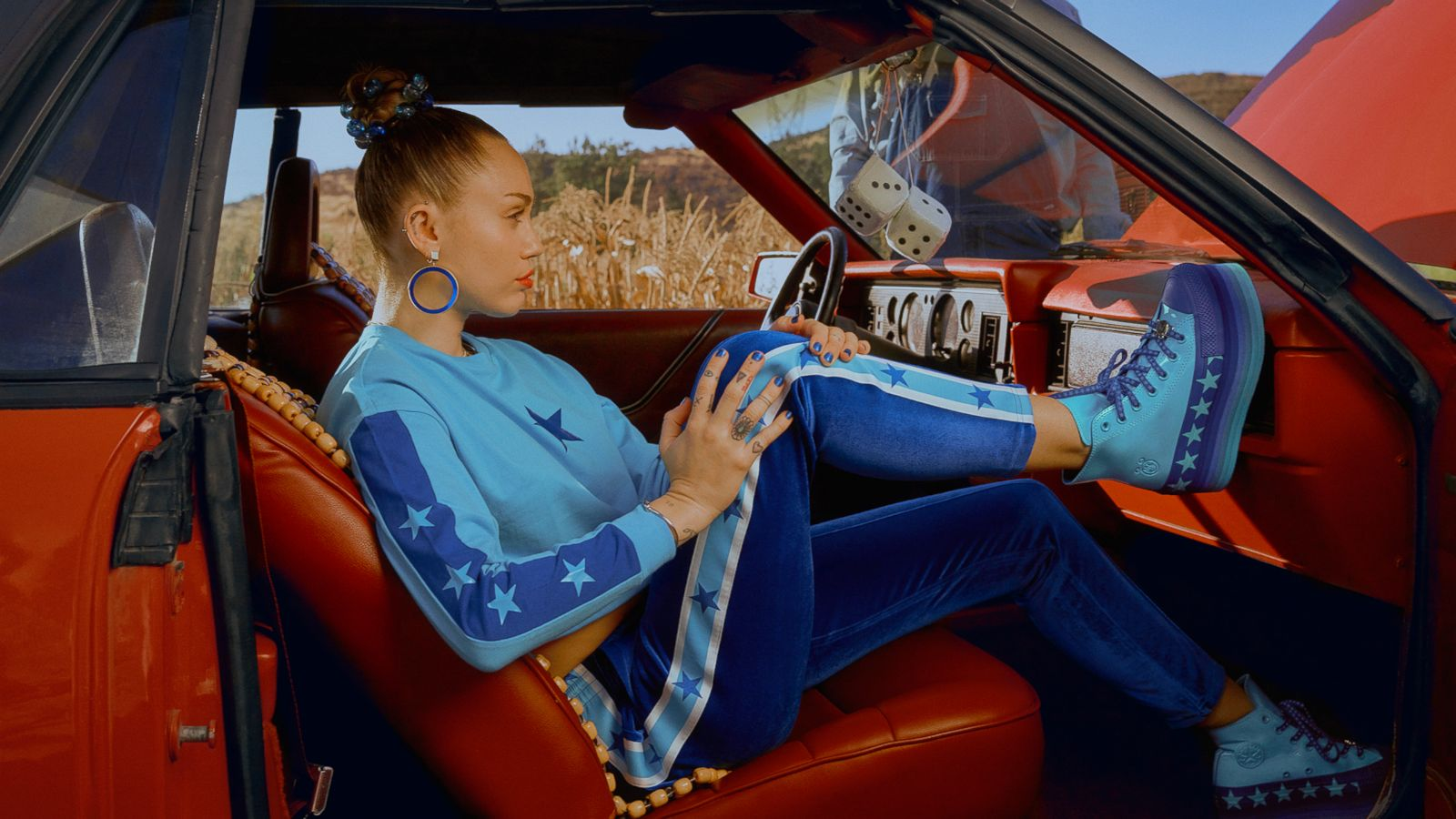 Converse x Miley Cyrus Velvet Velour Track Pants Gnarly Blue