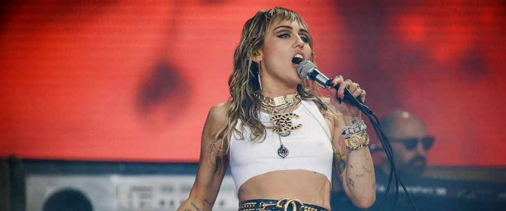 PHOTO: Miley Cyrus performs on the Pyramid Stage during Glastonbury Festival in Somerset, Britain, June 30, 2019.