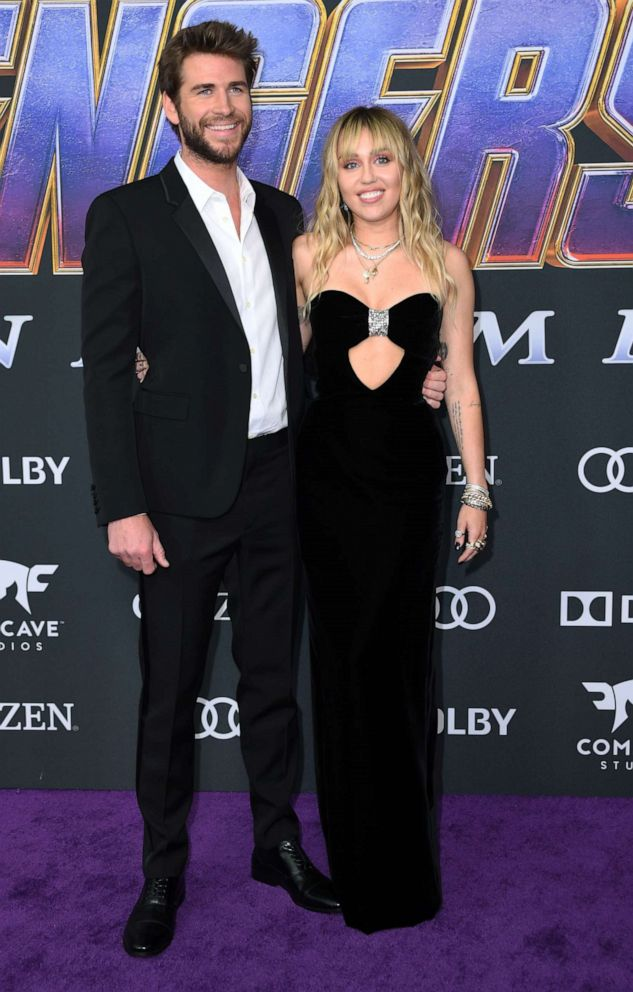 PHOTO: Liam Hemsworth and Miley Cyrus arrive for the World premiere of Marvel Studios Avengers: Endgame at the Los Angeles Convention Center on April 22, 2019 in Los Angeles.