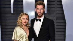 PHOTO: Singer Miley Cyrus and actor Liam Hemsworth attend the 2018 Vanity Fair Oscar Party hosted by Radhika Jones at Wallis Annenberg Center for the Performing Arts, March 4, 2018, in Beverly Hills, Calif.