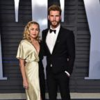 Singer Miley Cyrus and actor Liam Hemsworth attend the 2018 Vanity Fair Oscar Party hosted by Radhika Jones at Wallis Annenberg Center for the Performing Arts, March 4, 2018, in Beverly Hills, Calif.