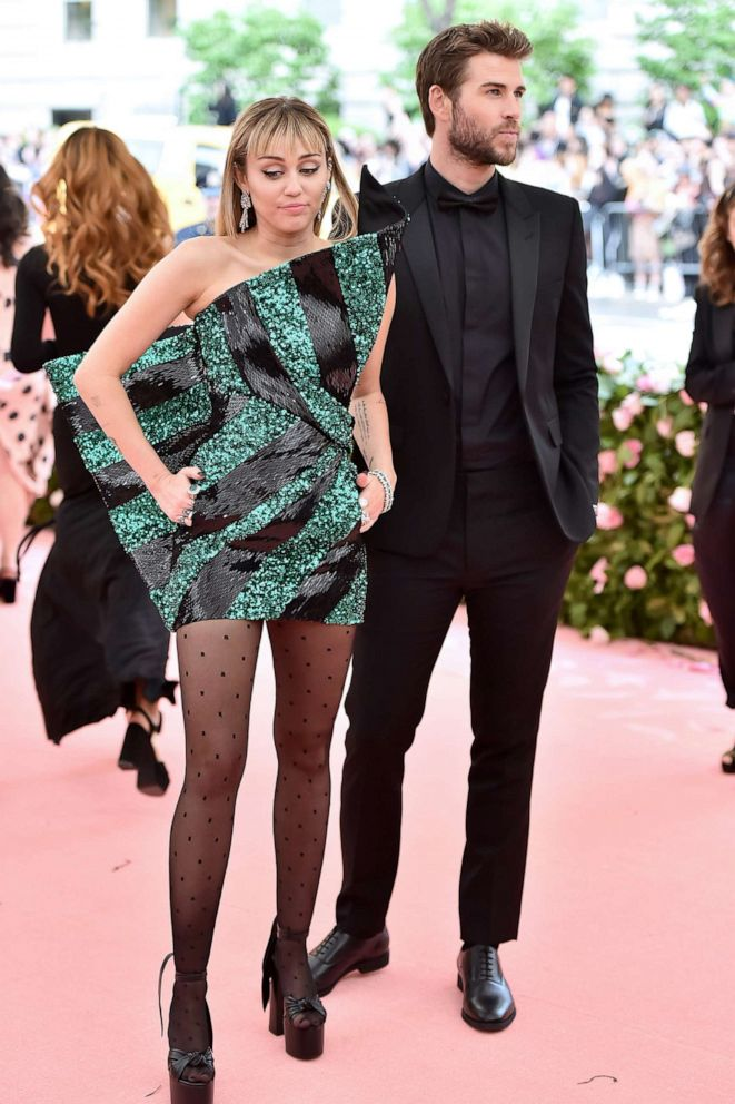 PHOTO: Miley Cyrus and Liam Hemsworth attend The 2019 Met Gala Celebrating Camp: Notes on Fashion at Metropolitan Museum of Art on May 06, 2019, in New York.