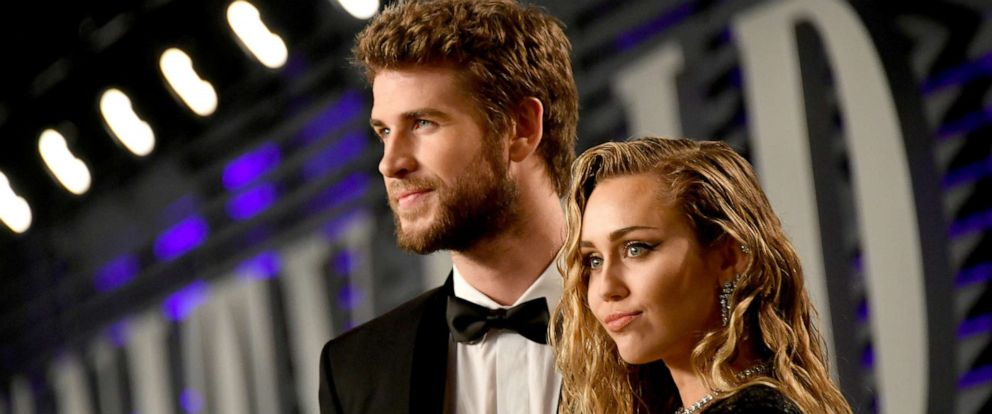 PHOTO: Liam Hemsworth and Miley Cyrus attend the 2019 Vanity Fair Oscar Party on February 24, 2019,in Beverly Hills, Calif.