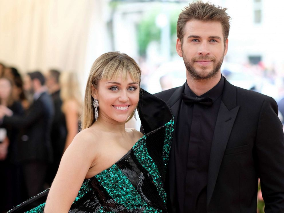 PHOTO: Miley Cyrus and Liam Hemsworth attend The 2019 Met Gala Celebrating Camp: Notes on Fashion at Metropolitan Museum of Art on May 6, 2019, in New York City.