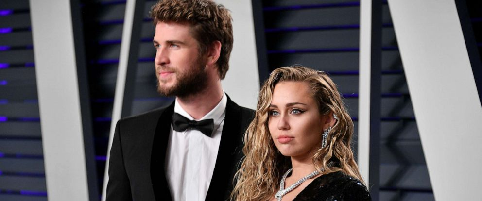 PHOTO: Liam Hemsworth and Miley Cyrus attend the 2019 Vanity Fair Oscar Party hosted by Radhika Jones at Wallis Annenberg Center for the Performing Arts on Feb. 24, 2019 in Beverly Hills, Calif.