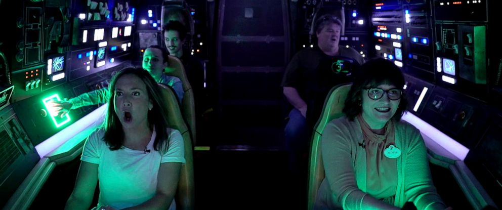 """PHOTO: """"GMA"""" got to take the controls of the brand-new Millennium Falcon: Smugglers Run at Disneylands new Star Wars: Galaxys Edge."""